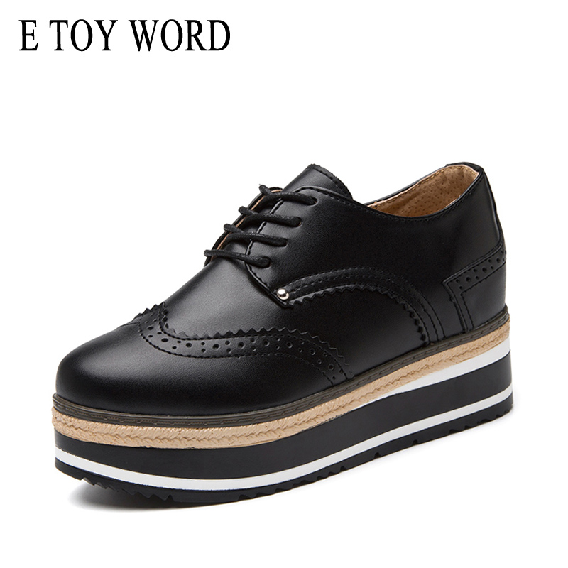 E TOY WORD Platform Brogue Women Shoes Leather Lace-up Round Toe Ladies Black White oxford creepers Flat Casual Shoes Fashion цена