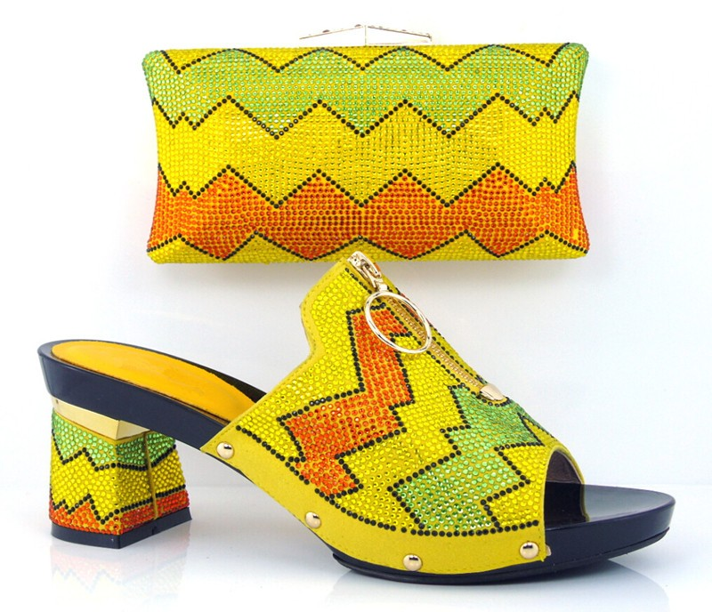 ФОТО Fashion Sandal Shoes High Quality African Shoes And Matching Bag Set With Stones Italian Shoes With Matching Bag Set SG16-102