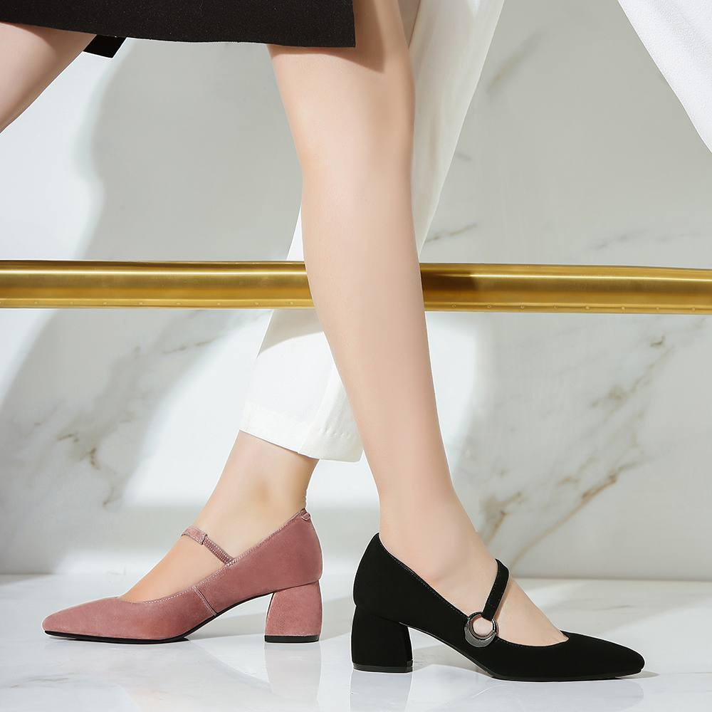 ФОТО Fashion Women Shoes Genuine Leather Pointed Toe Preppy Style High Heels Circle Metal Buckle Pumps Mary Janes Office Lady Shoe 51