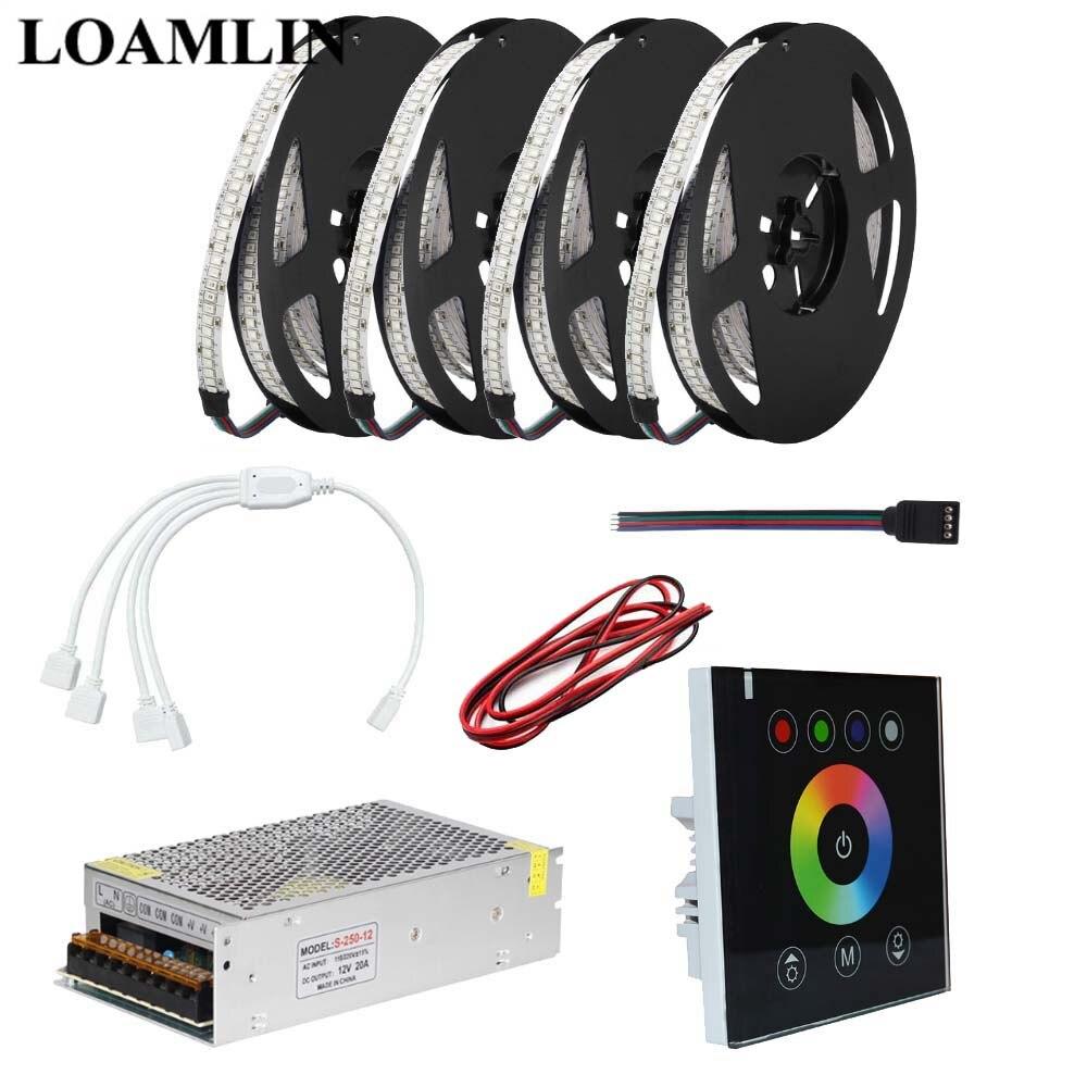 10 5 m m m m 2835SMD 20 15 234 Leds/m RGB Led Strip Luz Com RGB Toque painel de Led Controlador DC12V fonte de Alimentação K|Tiras de LED| |  -