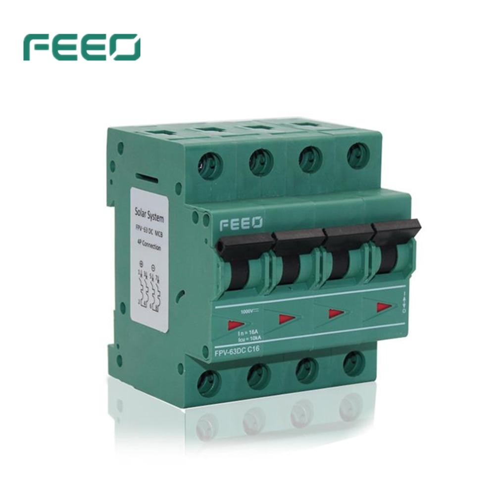 FEEO FPV-63 4P 1000V 6A 10A 16A 20A 25A 32A 40A 50A 63A MCB Mini DC Circuit Breaker TUV & CE Certificate