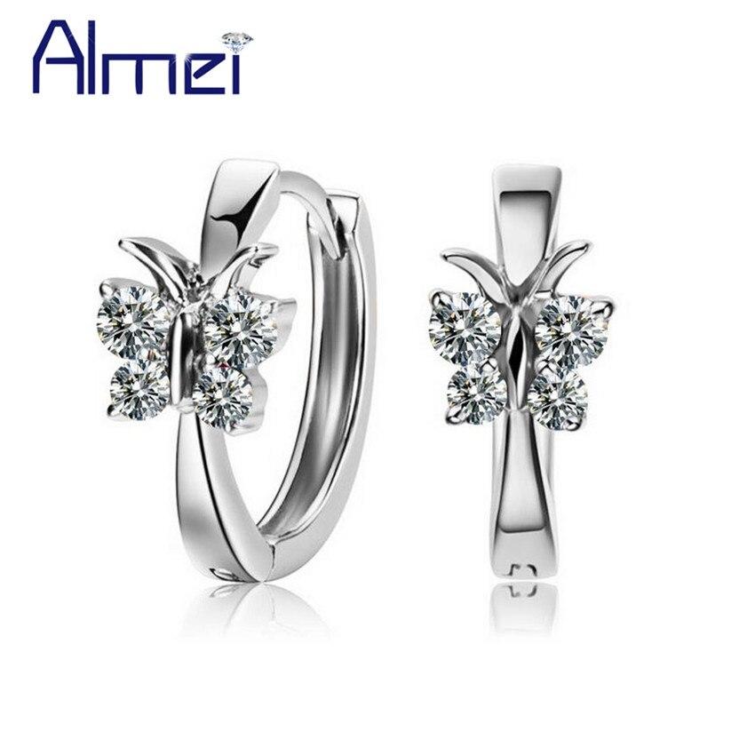 Almei 40%Off Butterfly Zirconia Studs Ear Earrings For Kids Women Animal 925 Sterling Silver Earings Crystal Jewelry Box LR010 недорго, оригинальная цена