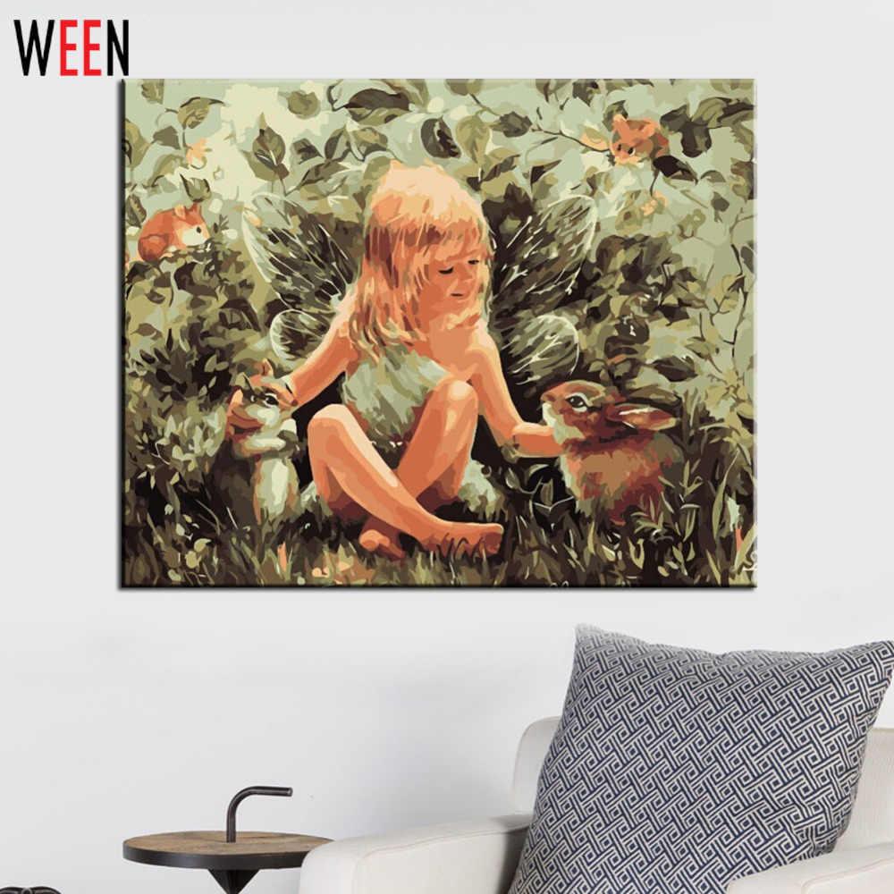 Malaikat dan kelinci lukisan by numbers diy digital oil painting minyak Modern Kanvas Seni dinding Gambar Untuk Ruang Tamu Murah hadiah