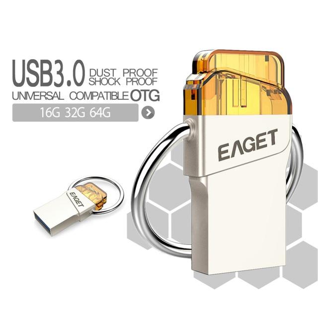 Eaget V66 OTG usb 3.0 Usb flash drive16GB 32GB 64GB pen drive External Storage pendrive For Android PC Smart Phone Tablet PC
