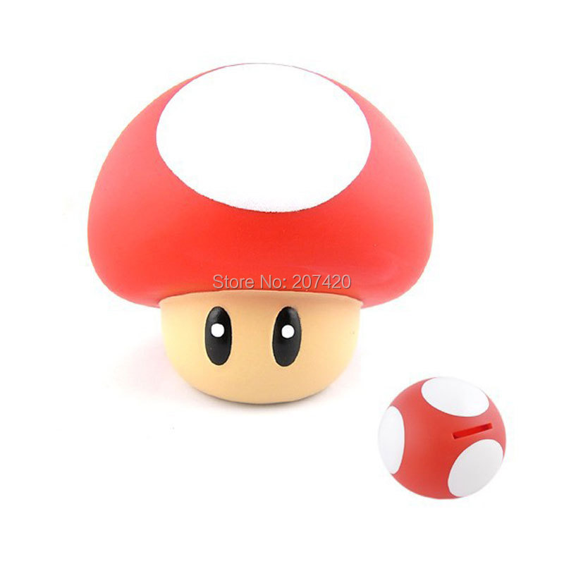 9cm Anime Cartoon Super Mario Red Mushroom Coin Piggy Bank Mario PVC Figure Collectible Model Toys Dolls For Children super heroes wolverine x men piggy bank coin money bank pvc action figure collectible model toy save money box for gift