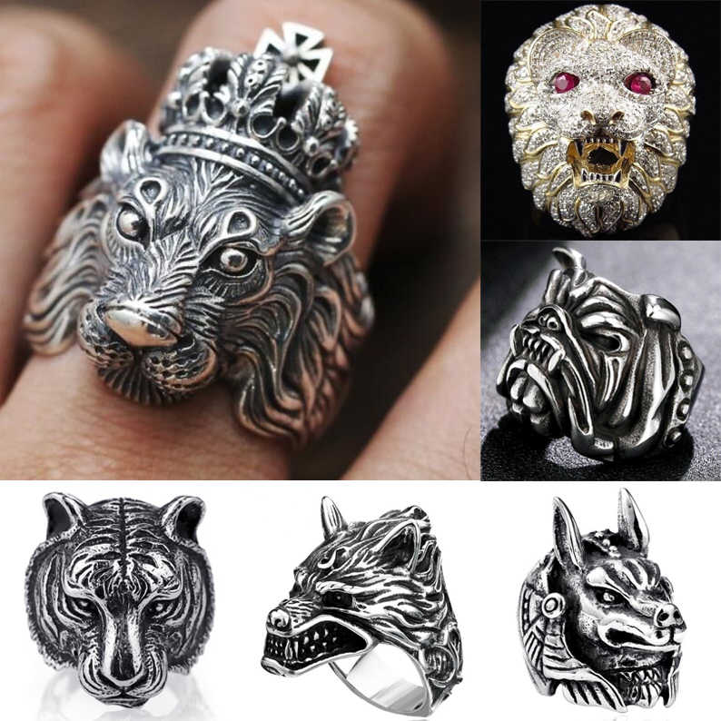 Gothic Punk Ring For Men Retro  Male Ring Stainless Steel Exaggeration Ferocious Animal Wolf Lion Tiger Bulldog Exquisite