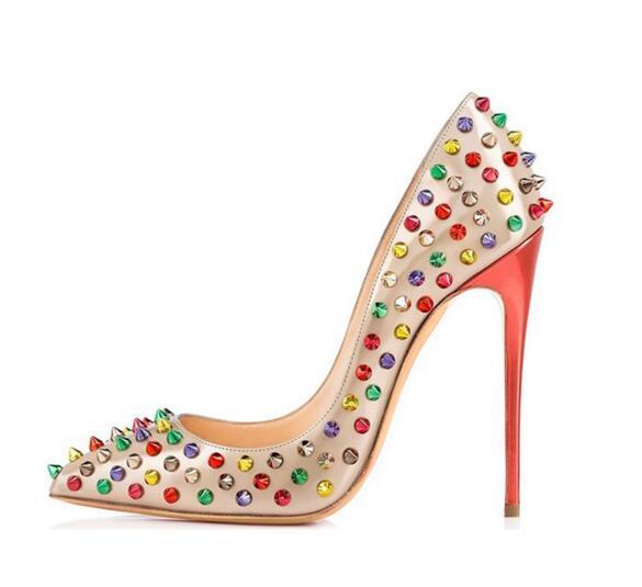 US4 12 Womens Rainbow Colors Studs Rivet Pointed Toe Stilettos High Heel Low Top Shoes Pumps Plus Size