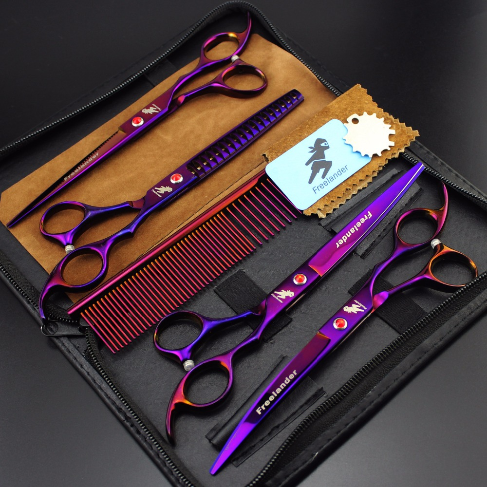 6 color Pet scissors sets,JP440C, 61HRC ,Straight & Big Tooth Thinning & Curved cutting, 4pcs /set