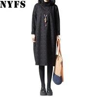 NYFS 2017 Spring Autumn Loose Women Dress Cotton Linen Vintage Long Sleeve Dress Vestido Robe Elbise