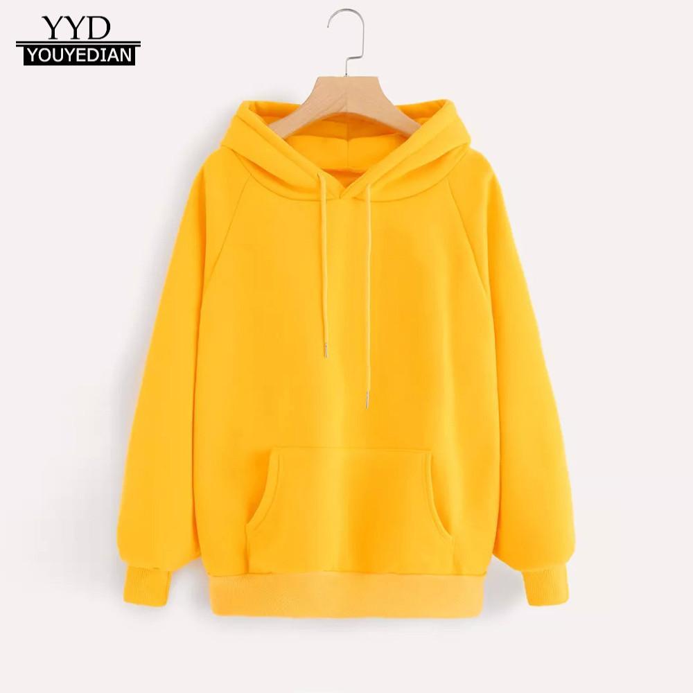 BYWX Women Pullover Long Sleeve Hooded Pocket Mid Length Sweatshirt