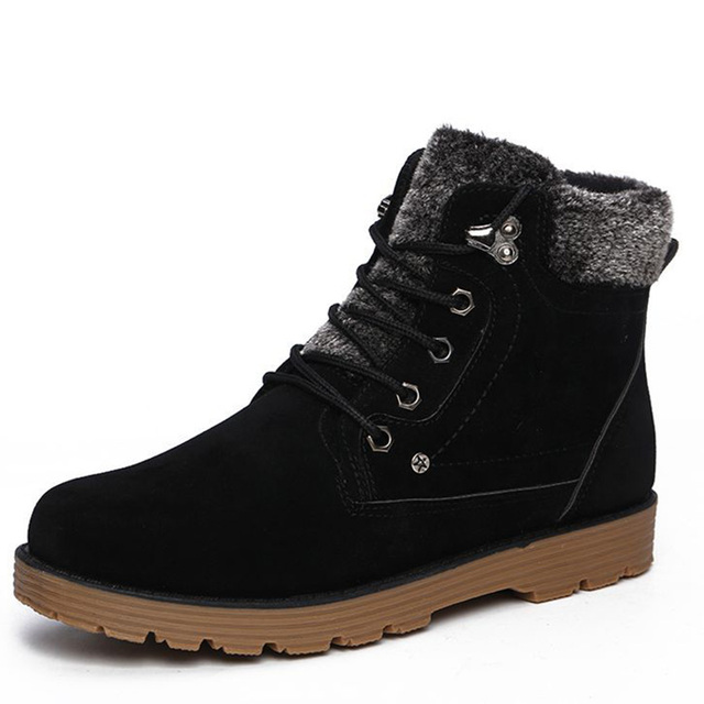 Free Shipping  Fashion Casual Men Boots Autumn Winter Lace -Up Fleece Snow Boot Ankle Boots Warm Shoes Men 51