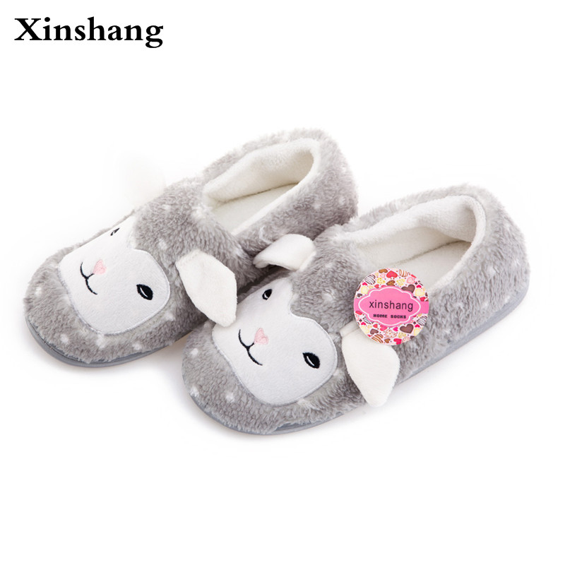 Winter Home Shoe Women Indoor Slipper Confinement CartoonThe lamb pattern House Plush Slippers Mujer Shoe Pantufas Pantoufle Fem