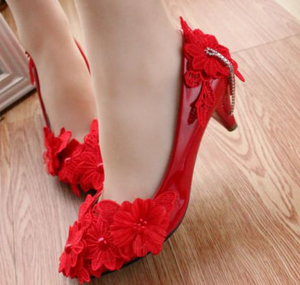 Newest Mid heels womens wedding shoes PR622 color red flowers lace ornament women ladies woman s