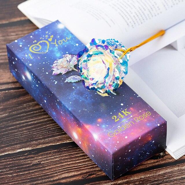 Simulation Eternity Rose Rainbow ValentineS Day Romantic 24K Gold Foil Flower Wedding Gift Beautiful LED Luminous Rose Flower
