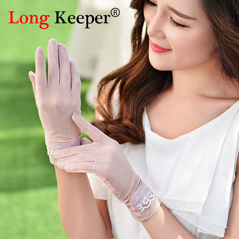 Spring Summer Lady DrIve Sunscreen Gloves Kiss Screen Ice Silk Short Women Summer Gloves Sunscreen Lace Gloves UV Protection 68