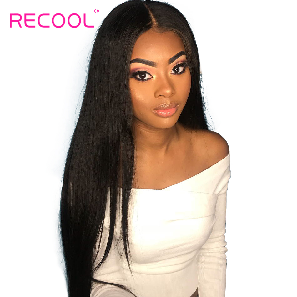 Recool Brazilian Straight Full Lace Human Hair Wigs Pre Plucked With Baby Hair 150 200 Density