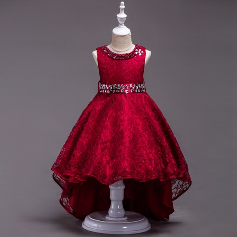 Baby Girls Clothes Vintage Lace Long Tailing Rhinestones dresses for wedding Bridesmaid Communion Formal Prom Evening Islamabad