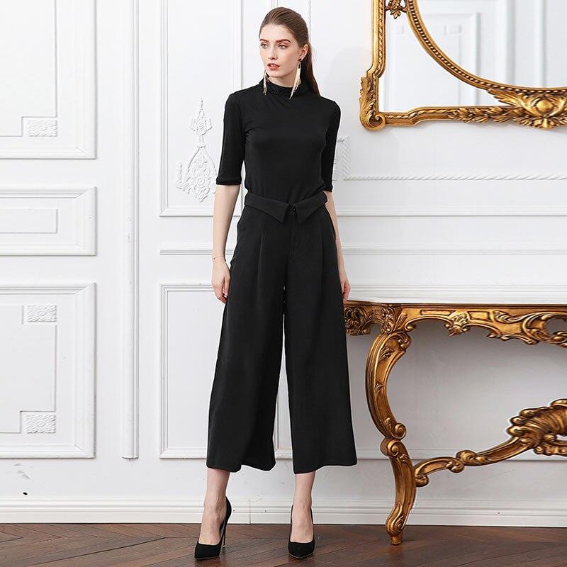 K2695 Taille Lâche Broeken Femmes Bas Bureau Noir Neuvième Décontracté Voa Pantalon Haute Soie Ropa Large Dames En Grande Nm8Onwv0