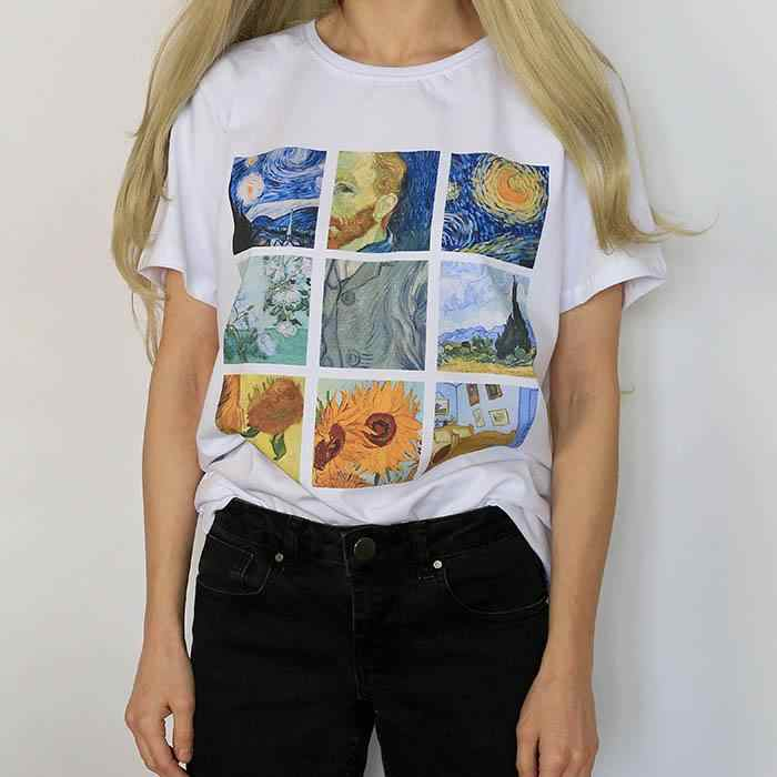 2019 Funny Van Gogh Oil Print Harajuku Ulzzang Tumblr Tee Top Women Tshirt Kawaii T Shirt Aesthetic Femme Womens T Shirt Clothes