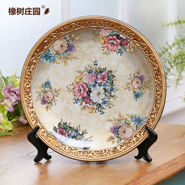 Ceramic Arts Us Country Flowers Decorative Wall Dishes Porcelain Plates Vintage Home Decro Crafts Room