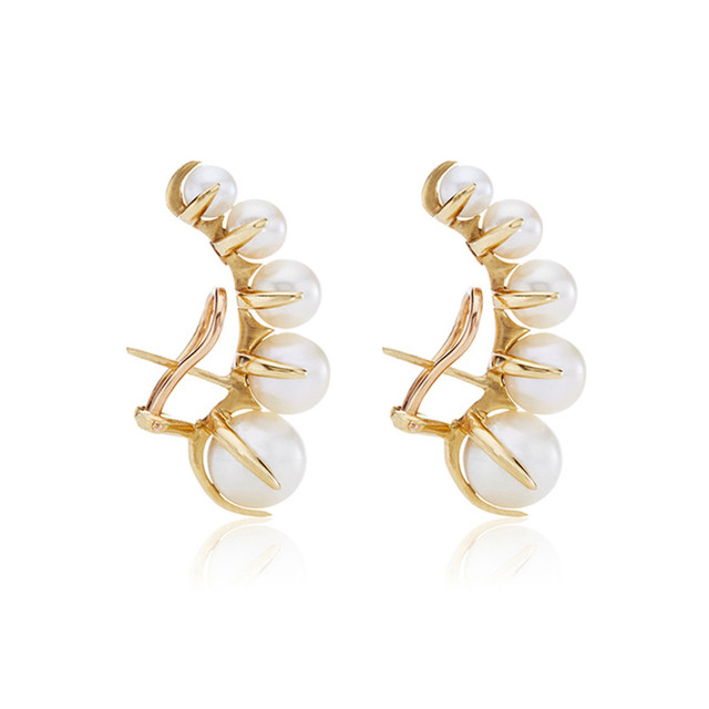 European and American fashion niche brands gradually change Pearl ear nails female exaggeration temperament vintage earrings
