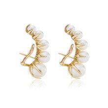 Las marcas de moda europeas y americanas cambian poco a poco las uñas de las orejas de perlas mujer exageración temperamento pendientes vintage
