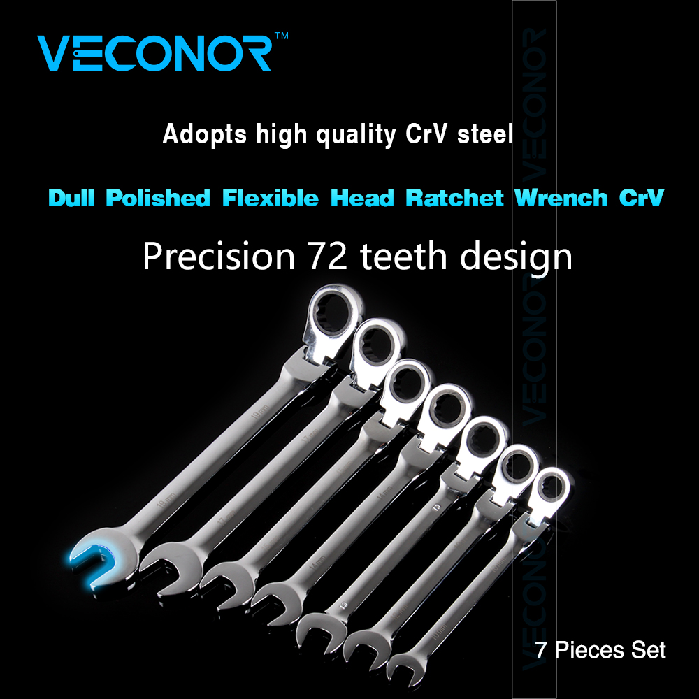 Veconor 7 pieces flexible head ratchet wrench spanner set combination key wrench set 10~19mm veconor 7pcs set flexible head ratchet gears wrench set repair tools torque wrench combination spanner 8 17mm chrome vanadium