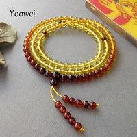 Yoowei 5.6 ملليمتر الطبيعية العنبر الأساور مسبحة بسوء البوذية التبتية مجوهرات هدايا تمتد 108 البلطيق العنبر الخرز الصلاة مجوهرات