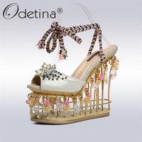 Odetina/Роскошные из натуральной кожи ручной работы женские босоножки Bird Cage каблуки 13 см с цветами и жемчугом лепнина на платформе обувь для ве