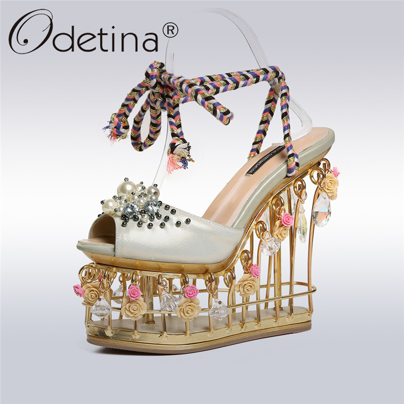 Odetina/роскошные женские босоножки ручной работы из натуральной кожи; обувь на каблуке 13 см с узором в виде птичек; обувь для вечеринок на плат