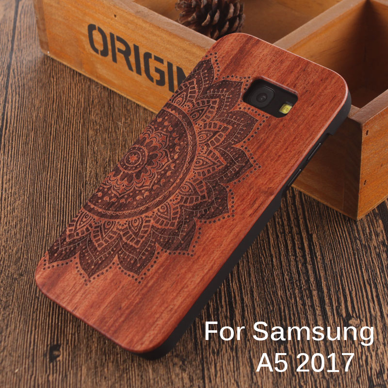 For Samsung Galaxy A5 2017 Wooden case Summer Beach Coconut Trees Anchor Angel Wing Feather Natural Carved Pattern Phone Covers