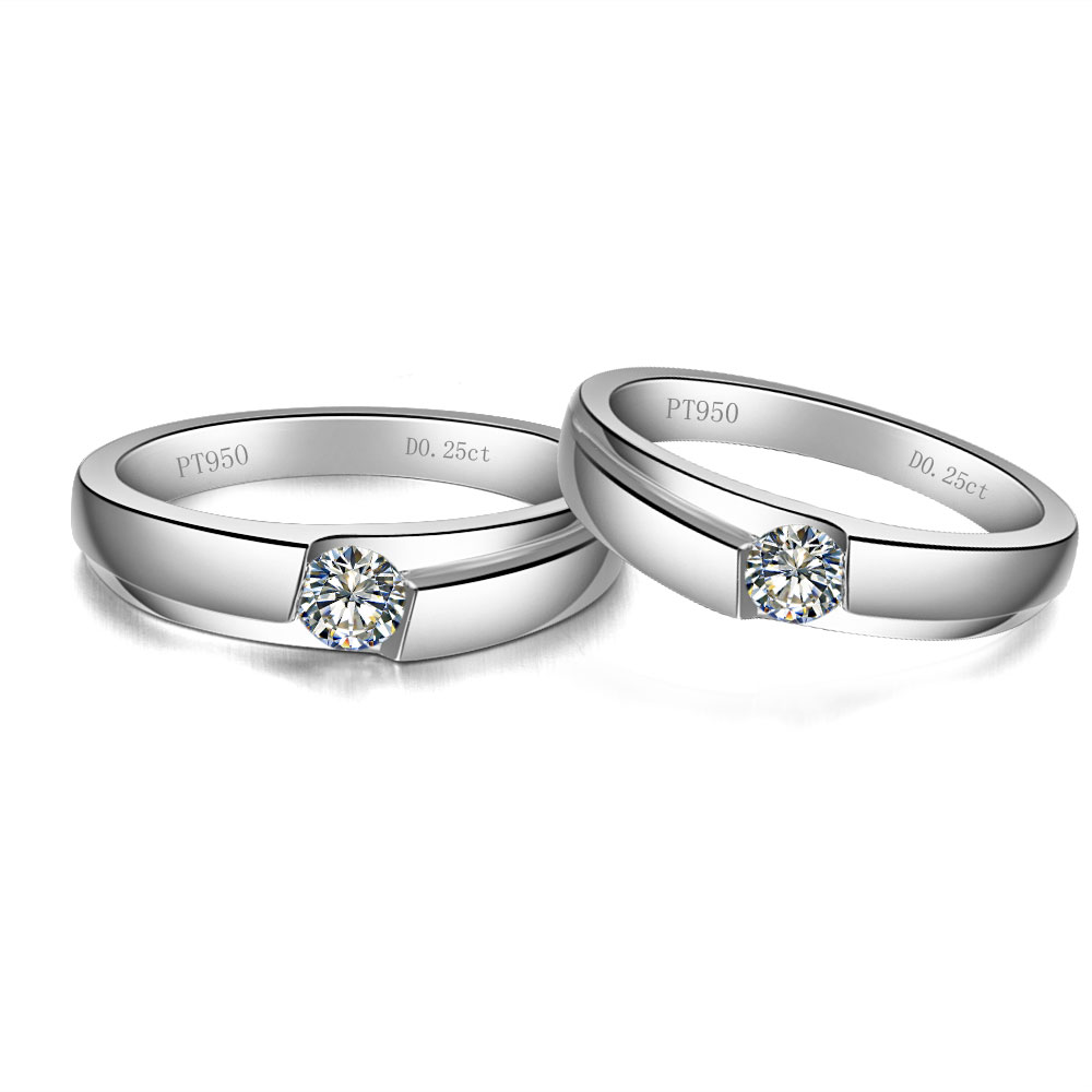 Tested Positive 14k 585 White Gold Couple Rings For Lovers 05carat  Moissanites Solitaire His And