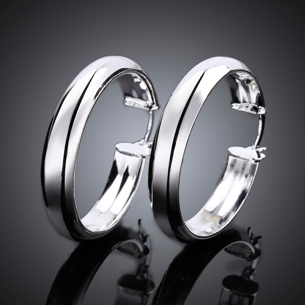 Unique Thick Circles earrings 925 sterling solid silver e595 gift box Free Fashion 2015 New Jewelry accessary