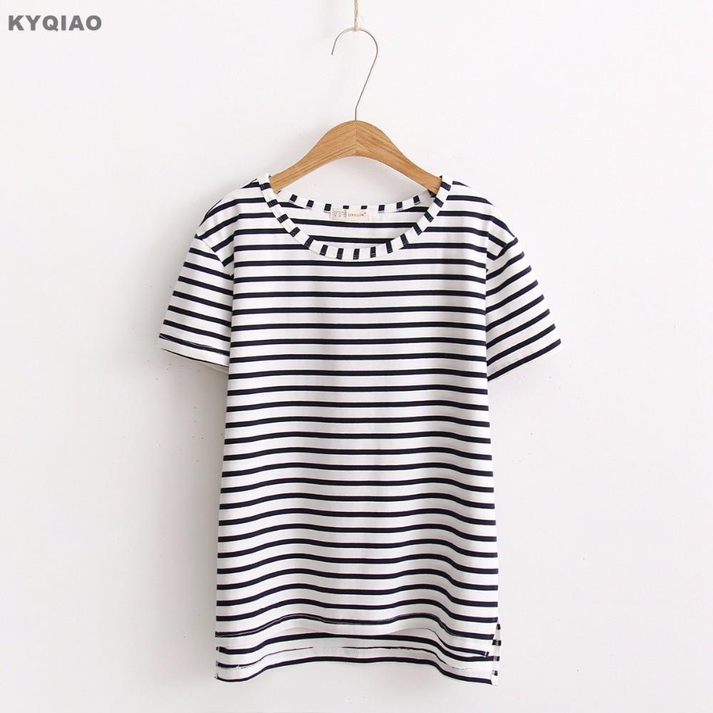 T shirt japanese design - Kyqiao Mori Girls Summer Japanese Style Fresh Design Short Sleeve Neck Black White Striped T Shirt