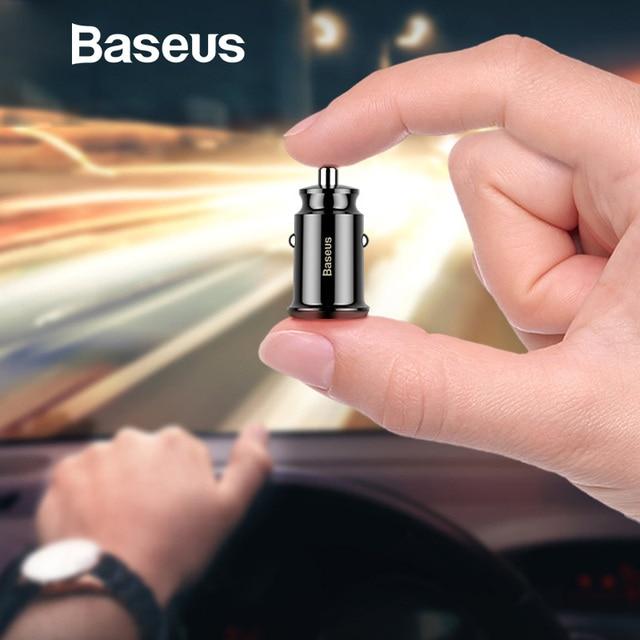 Baseus Mini cargador del coche del USB para la tableta del teléfono móvil GPS 3.1A rápido del cargador del coche-cargador Dual USB del teléfono del coche adaptador de cargador de coche