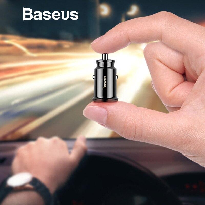 Baseus mini chargeur USB de voiture Pour téléphone portable Tablet GPS 3.1A chargeur rapide Voiture-Chargeur Double USB De Voiture adaptateur de chargeur de téléphone dans la Voiture
