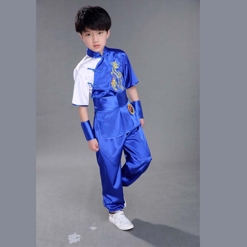 Bjj Children Chinese Traditional Wushu Arts Uniform Kung Fu Suit For Kids Boys Girls Stage Performance Clothing Set