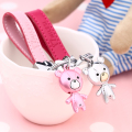 MILESI Charming Metal Cloth Bear Lovers Decorative Keychain Valentine's Gift Creative Gift