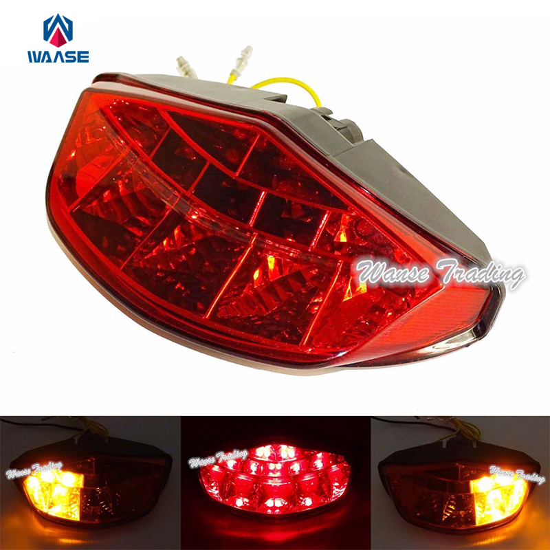 waase Chrome Led Tail Brake Turn Signals Integrated Light Red For DUCATI Monster Diesel 696 750 795 796 1100S 1100 S EVO