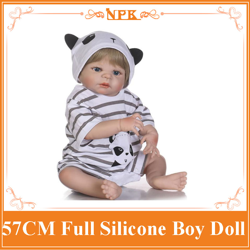 Lasted NPK 57CM Full Body Silicone Baby Reborn Doll Realistic Boy Doll In Cute Panda Striped Clothes Baby Girl Kid Toy Brinquedo full set top quality 60 cm pvc doll 1 3 girl bjd wig clothes shoes all included night lolita reborn baby doll wedding price shas