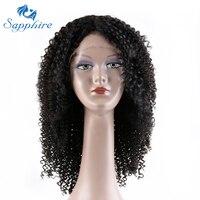 Sapphire Curly Hair Lace Front Tóc Giả Tóc Con Người Tóc Giả Tự Nhiên Brazil tóc Afro Kinky Quăn Tóc Giả 16 Inch Có Thể Được Nhuộm Pre ngắt