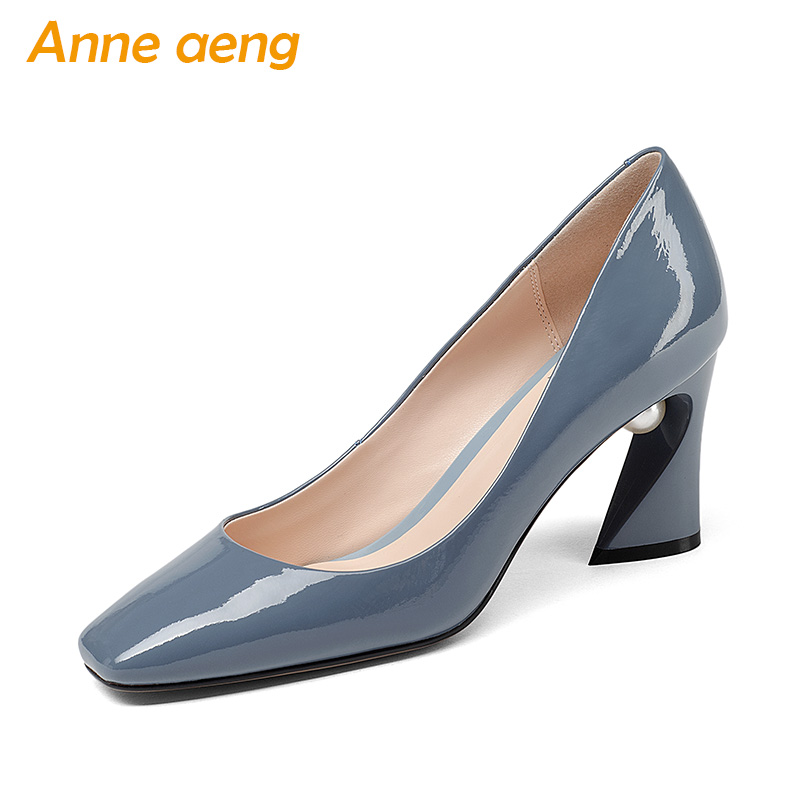 New Spring Autumn Genuine Leather Women Pumps Pearl High Strange Heels Pointed Toe Sexy Office Ladies