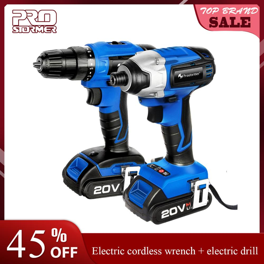 PROSTORMER 20V Electric Impact Drill Screwdriver Cordless  Rechargeable Lithium Battery Optional Two-Piece Set Electrical Tools
