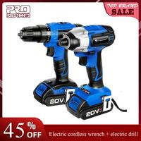 PROSTORMER 20V Electric Impact Drill Screwdriver Cordless 2000mAh Wireless Rechargeable Screwdriver Optional Two Piece Set