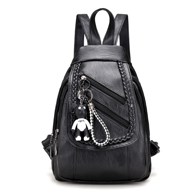 Women Vintage Leather Bear School Bags Mochilas Mujer Sac A Main Travel Daily Designer High Quality Backpacks For Teenage Girls