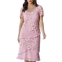 New Arrive Women Fashion Casual Lace Chiffon Dress O Neck Stitching Short Sleeve Pink Evening Party
