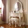 Muebles de arce mesa de maquillaje espejo blanco marfil aparador estilo