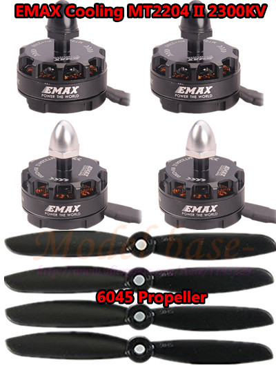 ФОТО NEW 4PCS Emax MT2204 II 2300KV Cooling Brushless Motor 2-4S (2CW+2CCW) +4pcs 6045 Propeller for QAV250 TL250/280 Multicopter