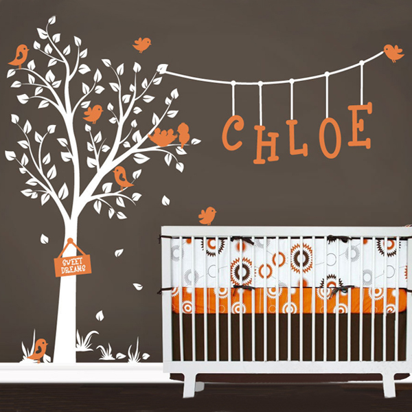 Nursery Wall Decals Cute Garden Tree Decal With Custom Name And Birds
