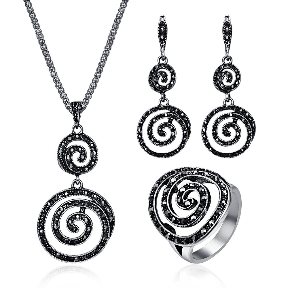 Unique Vintage Jewelry Sets For Women Antique Silver Color Full Black Rhinestone Spiral Pendant Necklace Earrings Ring Set chic rhinestone african plate shape pendant necklace and earrings for women